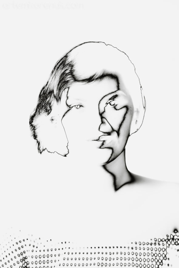 portrait studio woman black&white face solarization digital